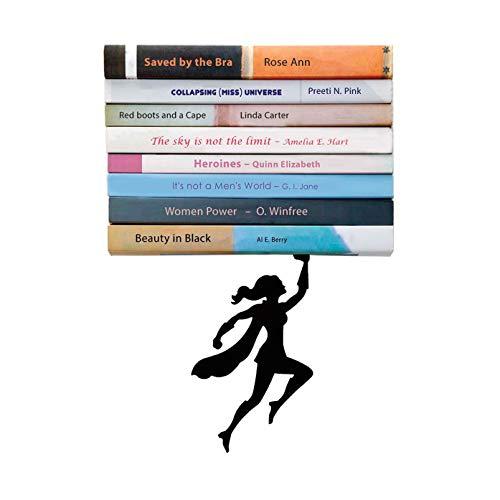 "Artori Design | ""Wondershelf Black Metal Female Superwoman Floating Bookshelf | Unique Book Shelf | Gifts for Geeks | Gifts for Book Lovers | Cool Book Stacker | Feminist Present | Gift for Mom | M"