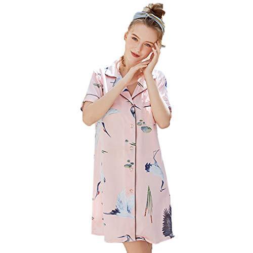 (RAINED-Women Home Nightgown Summer Short Style Printed Silk Sleepshirts Sleepwear Satin Pajamas Sleepshirt Pink)