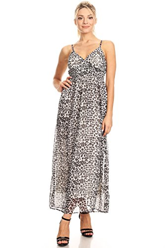 Leopard Print Spaghetti (DOTS Long Leopard Print Summer Maxi Dress With Spaghetti Straps (Large))