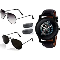 Sheomy Black Half Black Full Black Shades Sunglasses and Watche Combo for Fashion Sports Luxury Casual Analogue Quartz Black Dial Black Synthetic Strap Stylish Latest Men's Watch Blue and Black