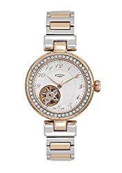 Rotary Watches Womens Two Tone Stainless Steel Skeleton Bracelet Watch LB90070/22