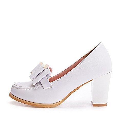 VogueZone009 Damen Hoher Absatz Eingelegt Ziehen auf Weiches Material Rund Zehe Pumps Schuhe, Weiß, 35