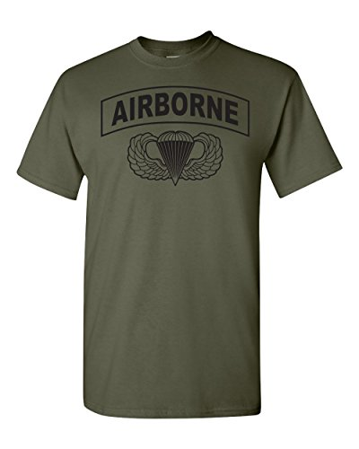All Things Apparel Army Airborne Paratroopers Men's T-Shirt - Med Military Green -