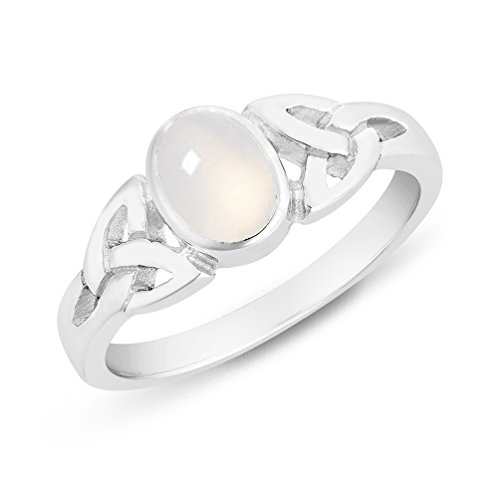 DTPSilver - 925 Sterling Silver and Moonstone Celtic Trinity Knot Ring