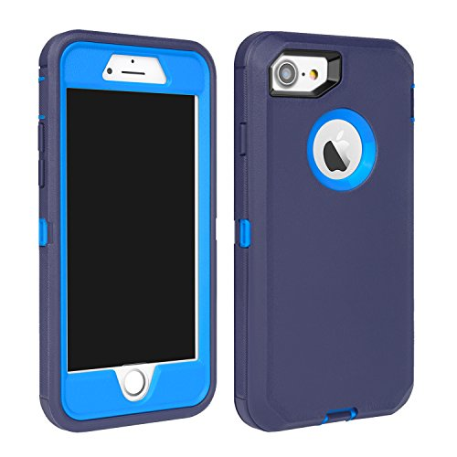 MAXCURY iPhone 7 Defender Case, iPhone 8 Case, Heavy Duty Shockproof Series Case for iPhone 7/8 (4.7) with Built-in Screen Protector (Navy/Blue)