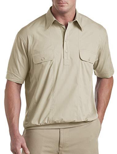 (Harbor Bay by DXL Big and Tall Short-Sleeve Mesh Panel Banded-Bottom Shirt (1X-Tall, Tan))