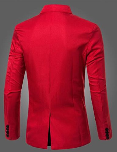 security Blazer Red Color Jacket Slim Mens Double Candy Suit Breasted Basic r0rwq4