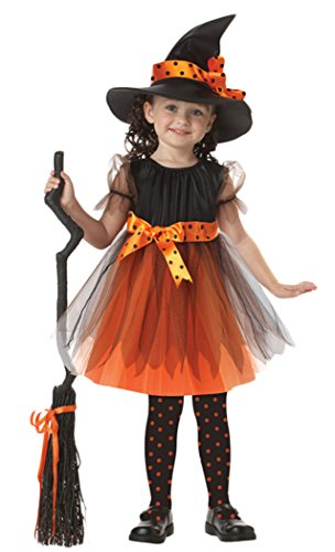 [Toddler Girls Witch Costume Halloween Cosplay Party Fancy Fairy Dress M 105cm-115cm Orange] (Singer Fancy Dress Costumes)