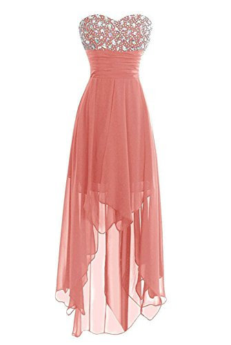 Women's Sweetheart Beaded Hi-Low Bridesmaid Prom Party Homecoming Dresses Blush US6]()