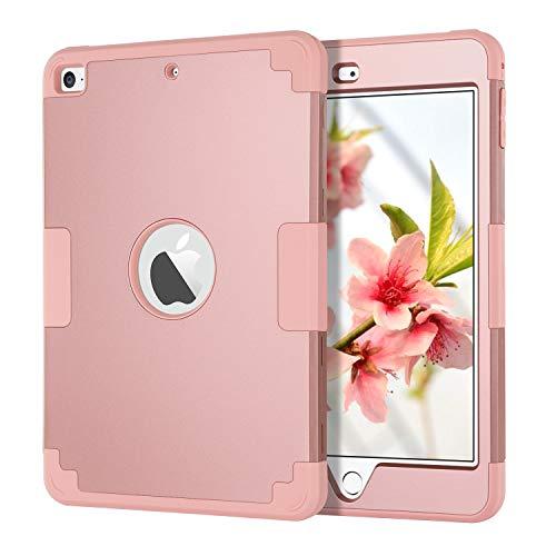 iPad Mini 5 Case, iPad Mini 4 Case, BENTOBEN 3 in 1 Heavy Duty Hybrid Hard PC Cover Soft Silicone Slim Shockproof Rugged Full Body Protective Cases for Apple iPad Mini 5th/ 4th Gen, Rose Gold