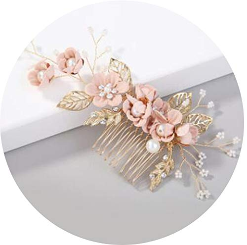 2000 Quinceanera Dress - Luxury Pink Blue Flower Hair Combs Headdress Prom Bridal Wedding Hair Accessories Gold Leaves Hair Jewelry Hair Pins 2019,Pink 4