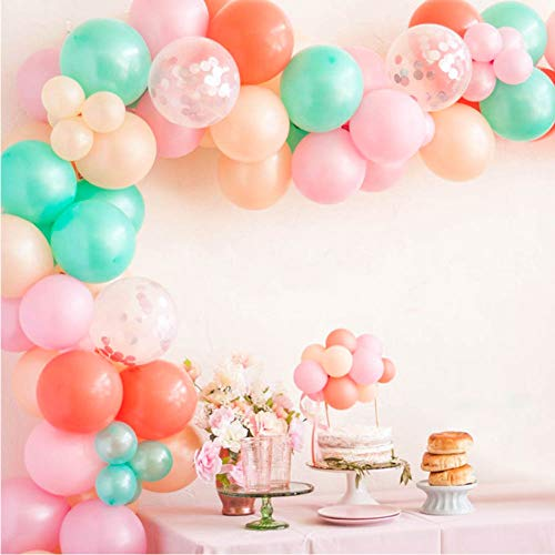 Balloon Garland Arch Kit 16Ft - 110pcs Blush, Rose Gold Confetti, Tiffany Blue, Pastel Pink, Macaron Orange balloons in Assorted Sizes for Holiday, Wedding, Baby Shower, Anniversary & Party ()