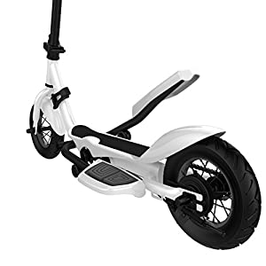 SUPERRIDE Pedal Scooter, 10 Inch Air Wheel Fold Scooter, Pedaling Stepper Scooter, Fitness Scooter for exercising or transportation white