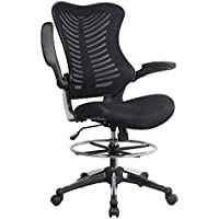 Homevol Ergonomic Swivel Drafting Chair, Height Adjustable Breathable Mesh Back with Steel Footring, Flip-up Padded Armrest Wheel Fabric Lumbar Support Seat