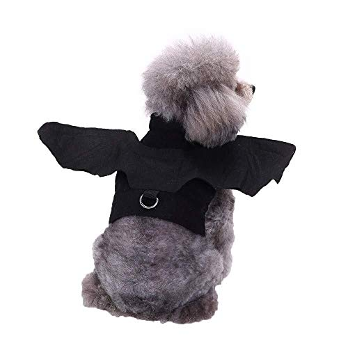 RONGFAFA Pet Clothes Dog Costume Cat VIP Dog Clothes Bat Wings Change Body with Traction Buckle (Color : Black, Size : L)