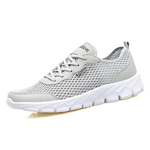Hombres Verano Zapatos deportivos Talla grande Moda Respirable Zapatos para correr Zapatos de ocio White