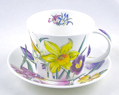 Fine Bone China England (Roy Kirkham Spring Flower Chintz English Chintz Breakfast Set - Tea Cup and Saucer Set Fine Bone China)