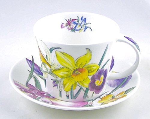 China Bone England Fine (Roy Kirkham Spring Flower Chintz English Chintz Breakfast Set - Tea Cup and Saucer Set Fine Bone China)
