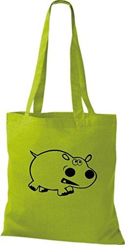 Shirtstown VertKiwi En Animaux Tissu Pochette Hippopotame Nvm80nw