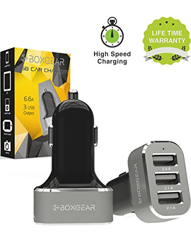 Boxgear 3 USB Port Car Charger 6.6 Amp Rapid Charger Tri-Por