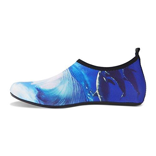 Yoga Herren Aqua Wassersport für Schwimmen Barfuß Rutschfeste Badeschuhe Strandschuhe Delphin Schuhe Leicht Damen wXxOTa4