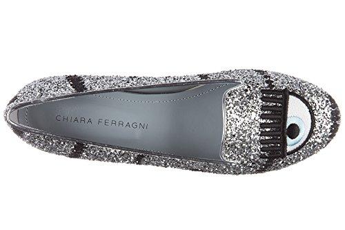 Chiara Ferragni Bailarines Bailarinas Mujer Nuevo Glitter Mascara Plata