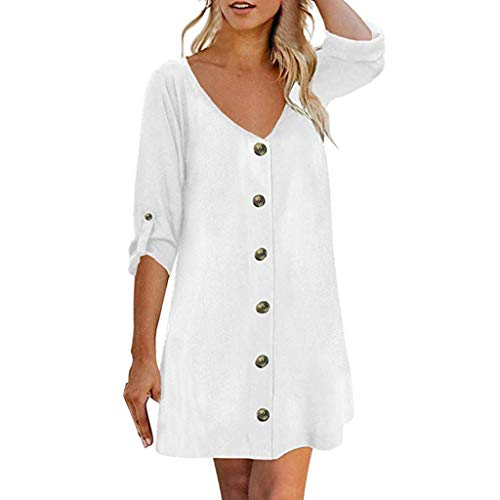 - RIUDA Women's Roll Tab 3/4 Sleeve V Neck Button Down Casual Flowy Mini Tunic Dress White