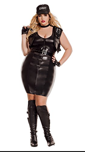 Starline Women's Plus Size Sultry Swat, As Shown, (Sultry Swat Officer Adult Plus Costumes)