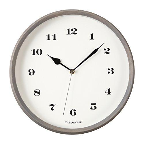KATOMOKU muku round wall clock 3 グレー 電波時計 連続秒針 km-54GRC φ306mm B06W5CTHFZ