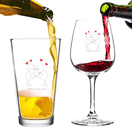 (Happy Anniversary! Beer Pint and Wine Glass- Romantic Glassware Set - Made in USA – Cool Present Idea for Wedding Anniversary, Married Couples, Him or Her, Mr. or)