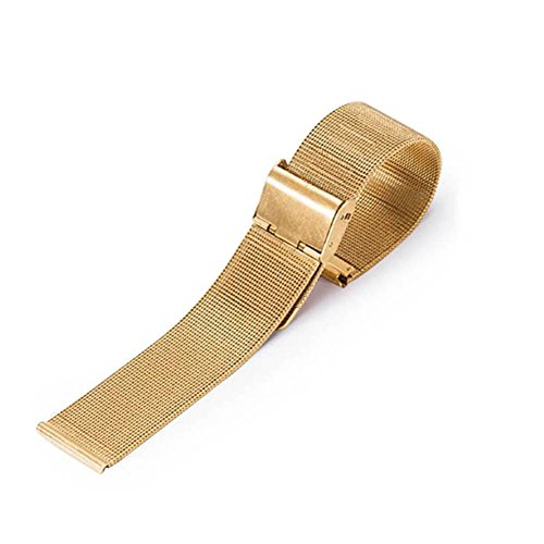 C-Pioneer Stainless Steel Mesh Wristwatch Bands Straps Watch Bracelets Repair Watch Band for Men and Women (14mm, Gold)