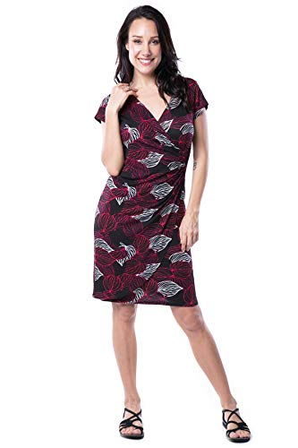 Nanakee Womens Faux Wrap Dress - Short Sleeve Slimming Tummy Control V Neck Leaves Printed Knit Dress - Black & Red - S