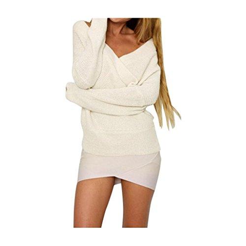 pullover Maglieria Maglia allentato Koly casuale a lunga manica bianca maglione 8qXUUx