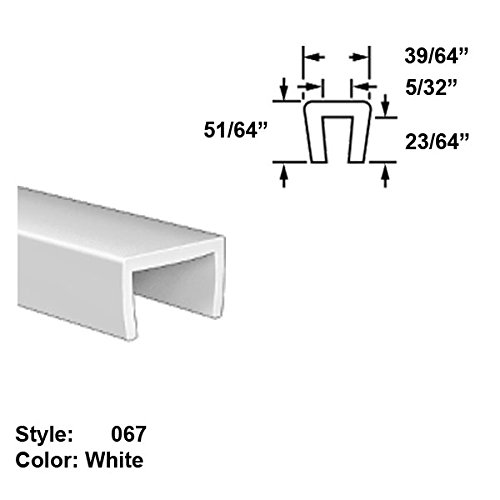 Food-Grade UHMW Plastic U-Channel Push-On Trim, Style 067 - Ht. 51/64'' x Wd. 39/64'' - White - 25 ft long by Gordon Glass Co.