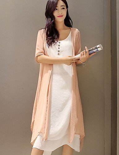 PU&PU Robe Aux femmes Ample Vintage / Simple,Couleur Pleine Col Arrondi Midi Lin / Polyester , pink-3xl , pink-3xl
