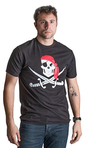 Jolly Roger Pirate Flag | Skull & Crossbones Buccaneer Costume Unisex T-shirt-(Adult,XL) Black -