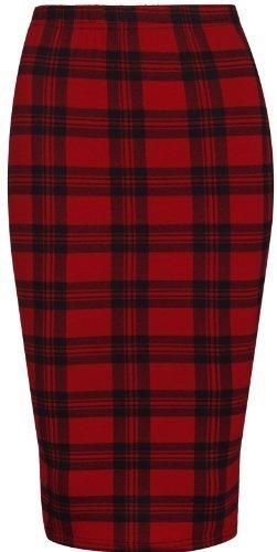 PurpleHanger Women's Printed Midi Pencil Tube Skirt Red Tartan (Fitted Straight Skirt)