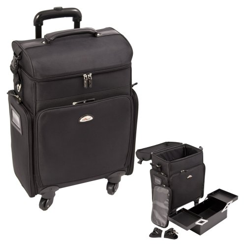 Craft Accents Soft-Sided Professional 4-Wheels Carry-On Rolling Makeup Case, All Black, 256 Ounce by Craft Accents