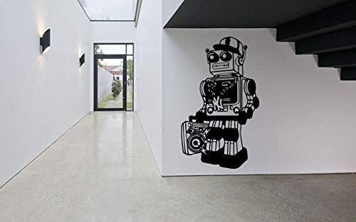 Wall Sticker Robot Raper Rap Boombox Mecha Machine Comics Hero Boy Kids Room Nurcery Vinyl Mural Decal Art Decor EH2644