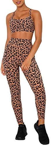 Women Yoga Outfits 2 Pieces Set Leopard Print Workout Set High Waist Leggings and Sports Bra Set Athletic Gym Clothes