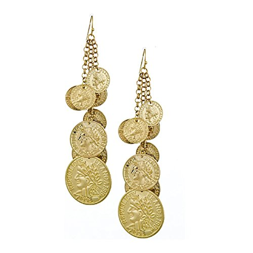 'Parisian Dancer' Layered Republique Francaise Coin Dangle Earrings, Tiered Chandelier 4.25