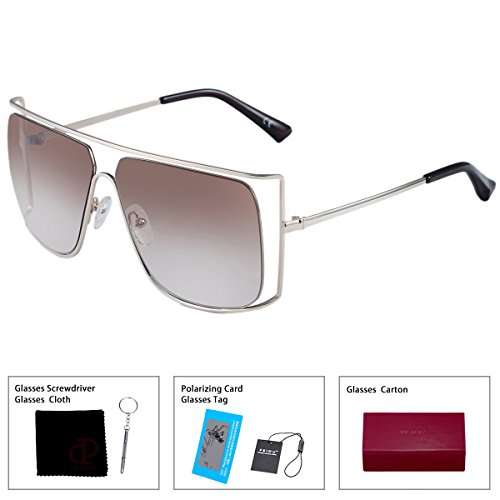 FEIDU New Oversized Sunglasses Women Brand Vintage Hollow Metal Frame Sun glasses For Women Outdoor Eyewear FD1605 (brown, - New Sunglasses Brand