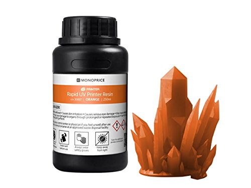 Monoprice Rapid UV 3D Printer Resin 250ml - Orange | Coatible With All UV Resin Printers DLP, Laser, or LCD by Monoprice