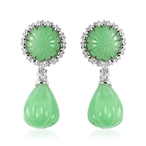 Dangle Drop Earrings 925 Sterling Silver Green Jade White Zircon Jewelry for Women Gift