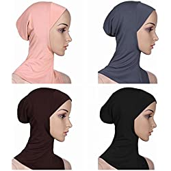 Ksweet 4pcs Lightweight Elastic Hijab Caps Full Cover Hijab Bonnet Islamic Scarf for Women Turban (Black+Grey+Light brown+KQ)