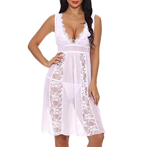 Women Fashion Casual See Through Deep V Neck Lace Mesh Strap Baby Dolls Lingeriet by Lowprofile (6Colors,S-XXL