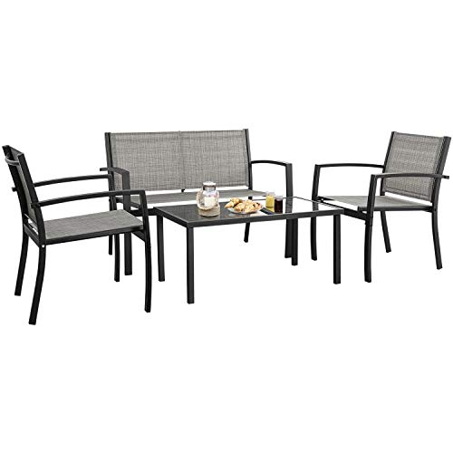 Devoko 4 Pieces Patio Furniture Set Outdoor Garden Patio Conversation Sets Poolside Lawn Chairs with Glass Coffee Table Porch Furniture (Grey) (Outdoor Table Sale Furniture)