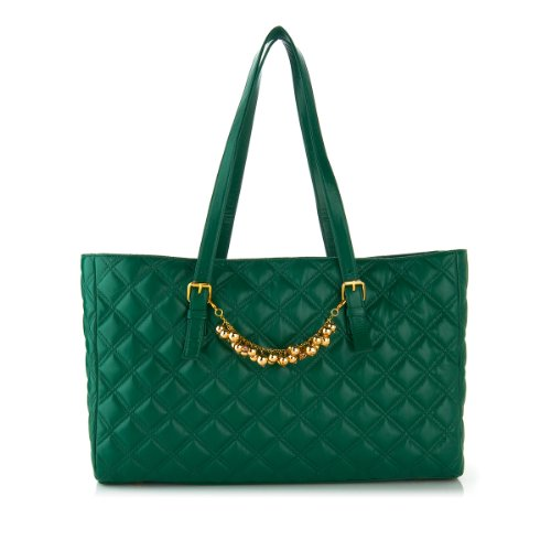 Joy Mangano & Iman Iconic Quilted Fashionably Functional Tote Bag with Bracelet (Emerald Green)