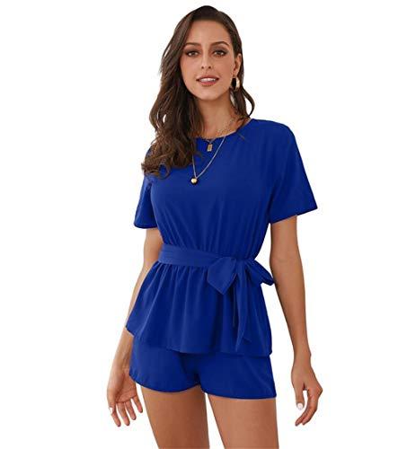 (Blue Women's Sexy Casaul Peplum Waist Tie Rompers with Short Sleeves Plus Size Midi Mini Maxi)