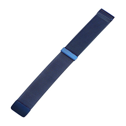 Xuexy 20mm Quick Release Pins Milanese Loop Magnetic Buckle Stainless Steel Watch Band for 20mm Moto 360 2nd Gen 42mm 2015,20mm Pebble Time Round, Blue